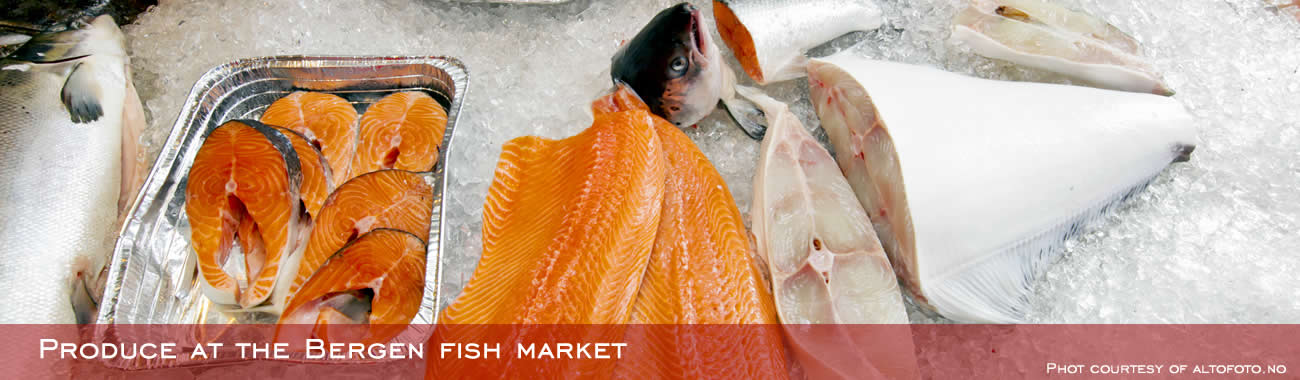 Produce at the Bergen fish market