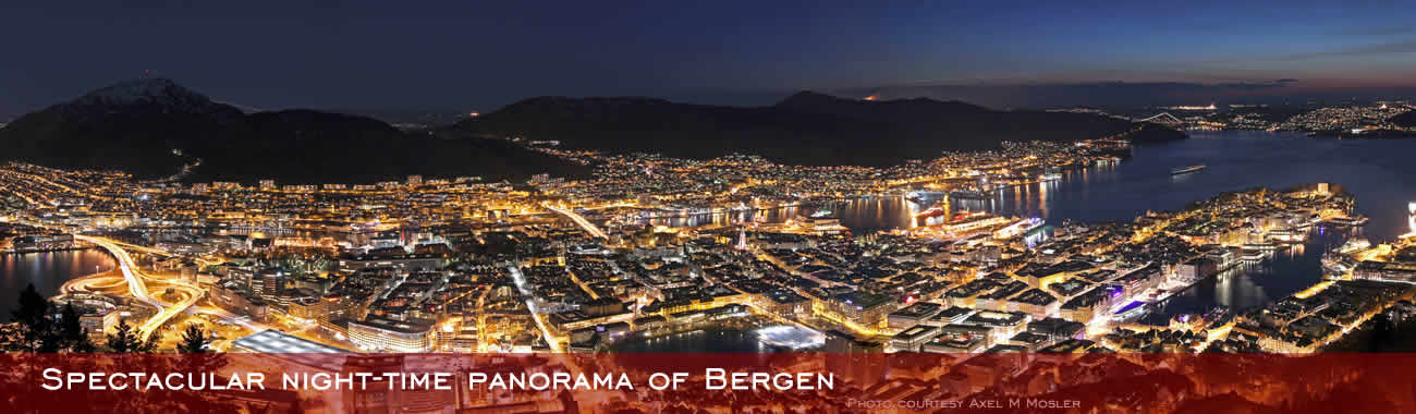 Spectacular night-time panorama of Bergen