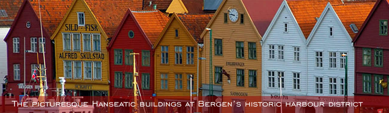 The colourful Bryggen waterfront in Bergen
