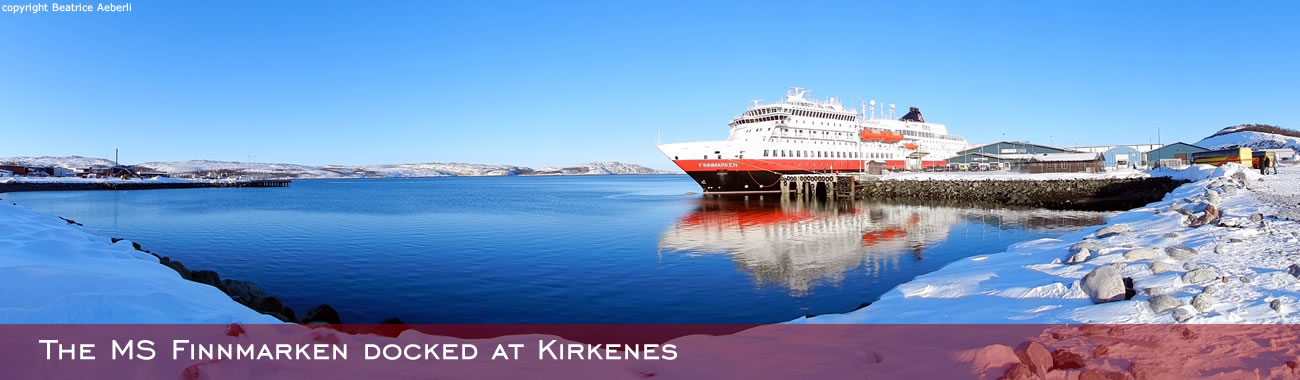 The MS Finnmarken docked at Kirkenes