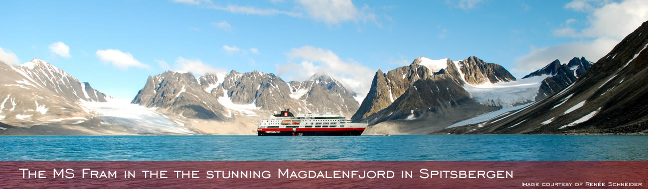 MS Fram in the stunning Magdalenenfjord in Spitsbergen
