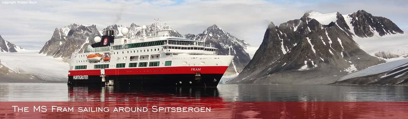 The MS Fram sailing around Spitsbergen