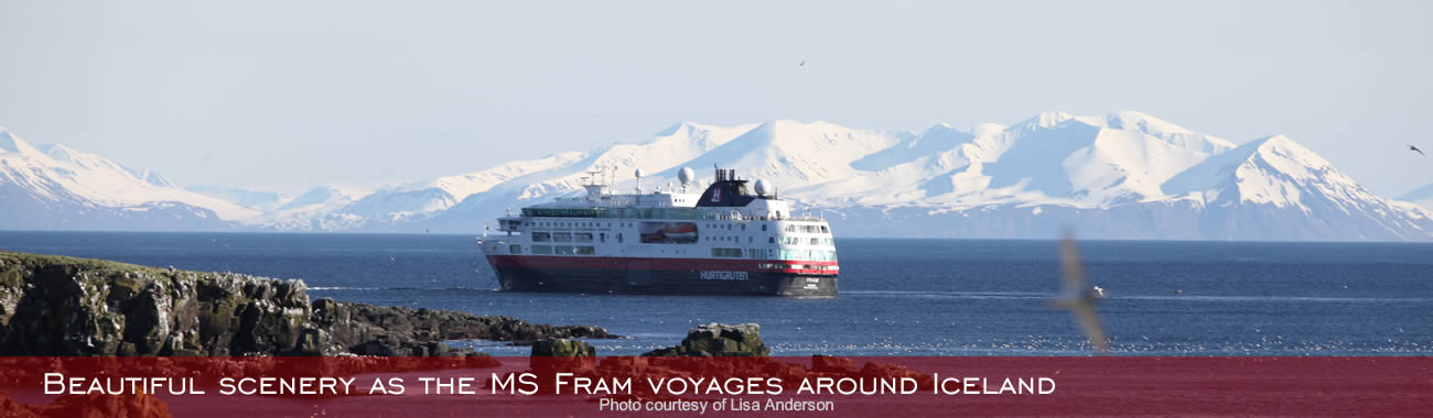 Beautiful scenery as the MS Fram voyages around Iceland