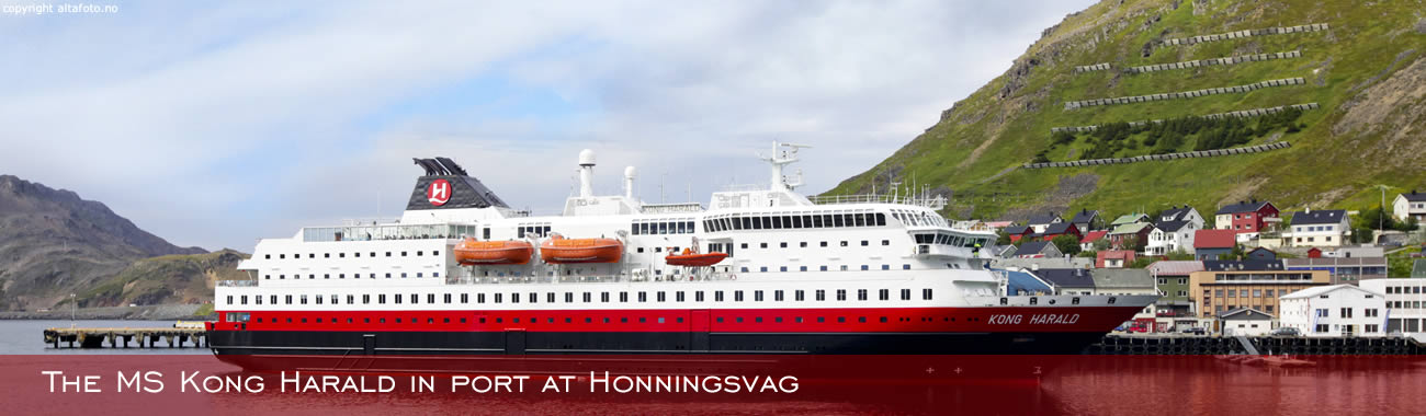 The MS Kong Harald arriving into Honningsvåg