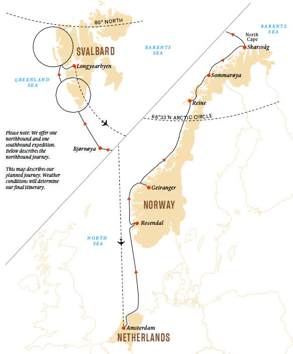 Norway and Spitsbergen - Hurtigruten's Sportsman's Route Map