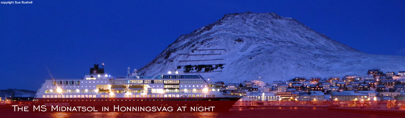 The MS Midnatsol in Honningsvåg at night