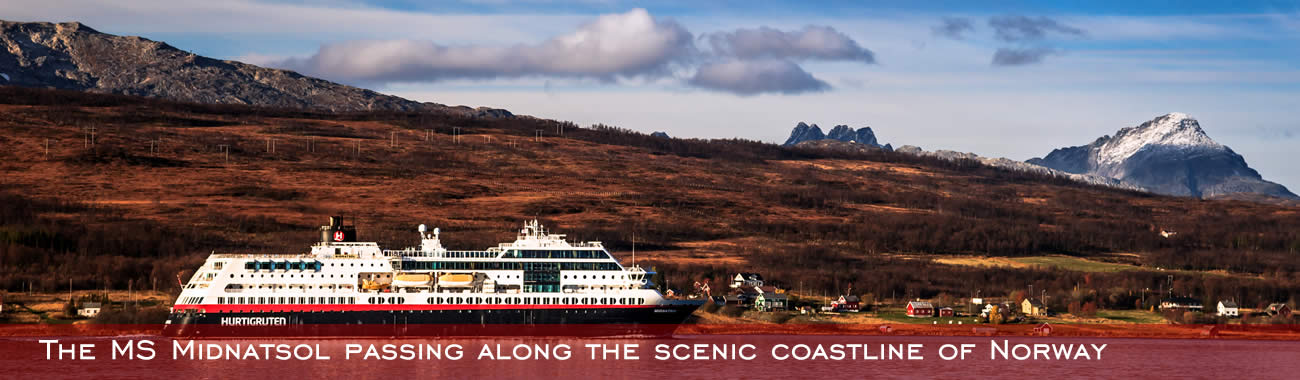 The MS Midnatsol passing along the scenic coastline of Norway