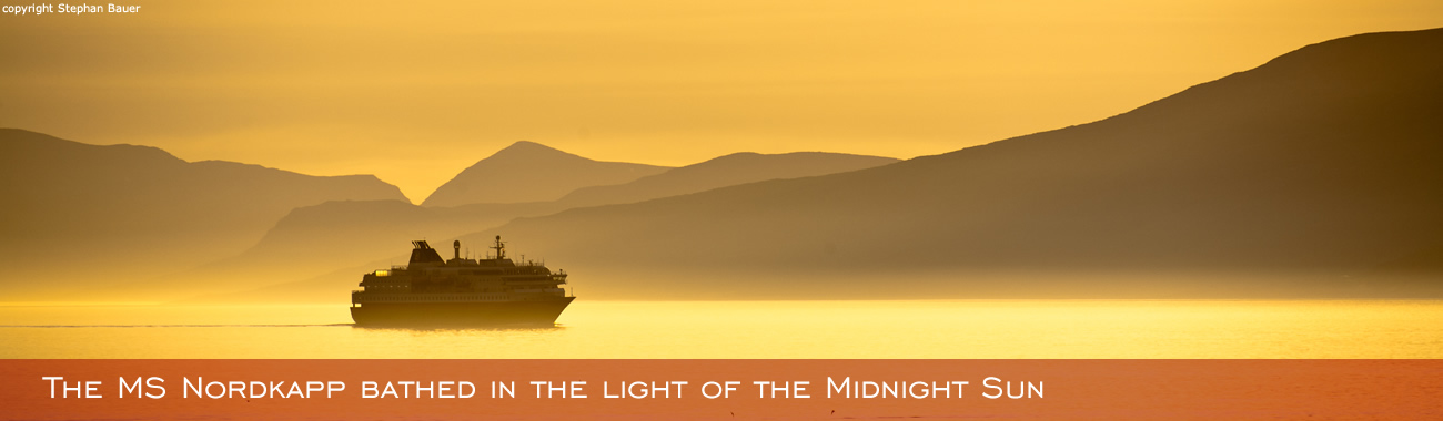 The MS Nordkapp bathed in the light of the Midnight Sun