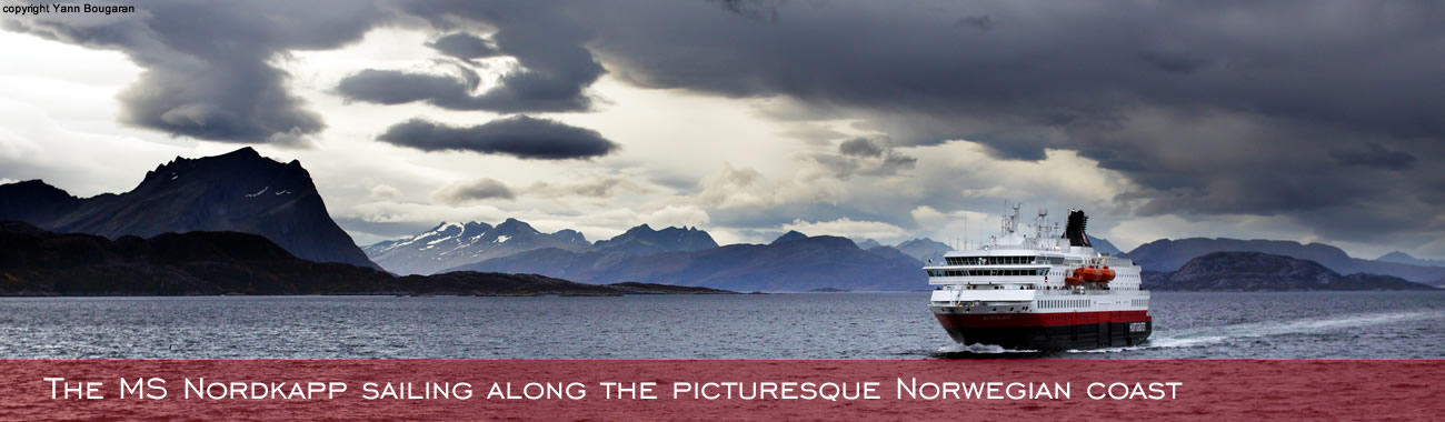The MS Nordkapp sailing along the picturesque Norwegian coast