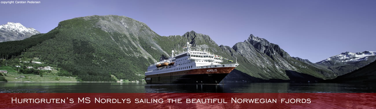 Hurtigruten's MS Nordlys sailing the beautiful Norwegian Fjords