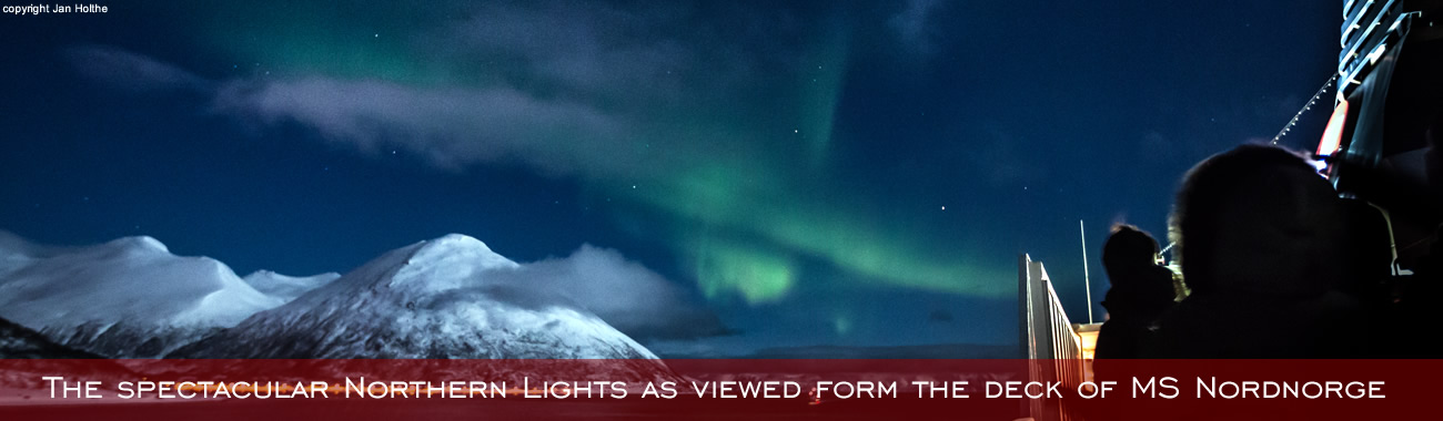 The spectacular Northern Lights as viewed form the deck of MS Nordnorge