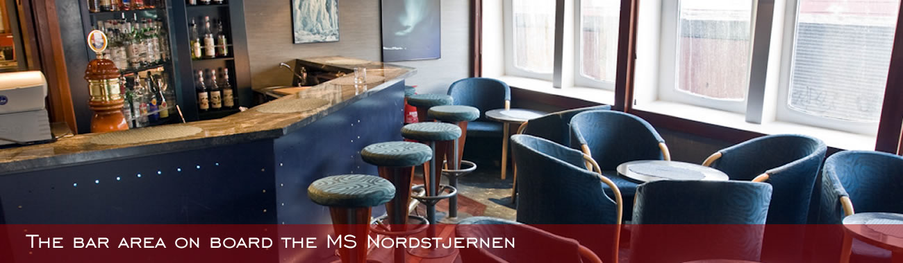 The bar area on board the MS Nordstjernen