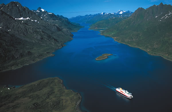 One of the Hurtigruten fleet sailing the Raftsundet