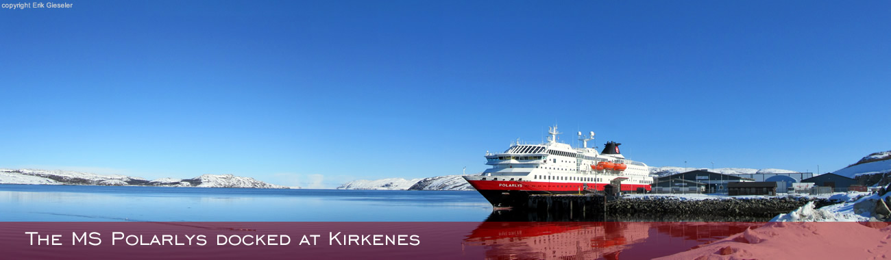 The MS Polarlys docked at Kirkenes