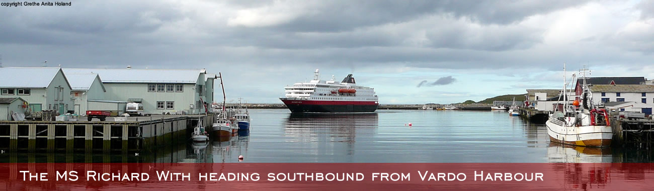 The MS Richard With heading southbound from Vardø Harbour