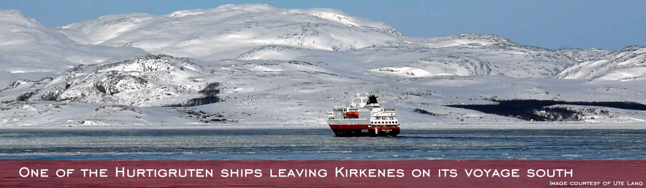 One of the Hurtigruten ships leaving Kirkenes on its voyage south