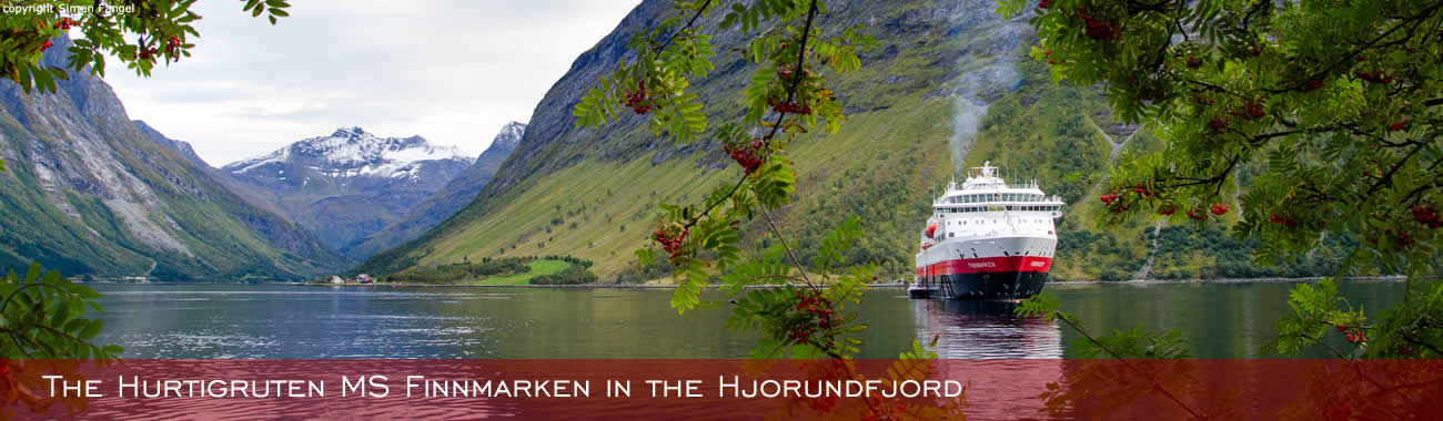 The Hurtigruten MS Finnmarken in the Hjorundfjord