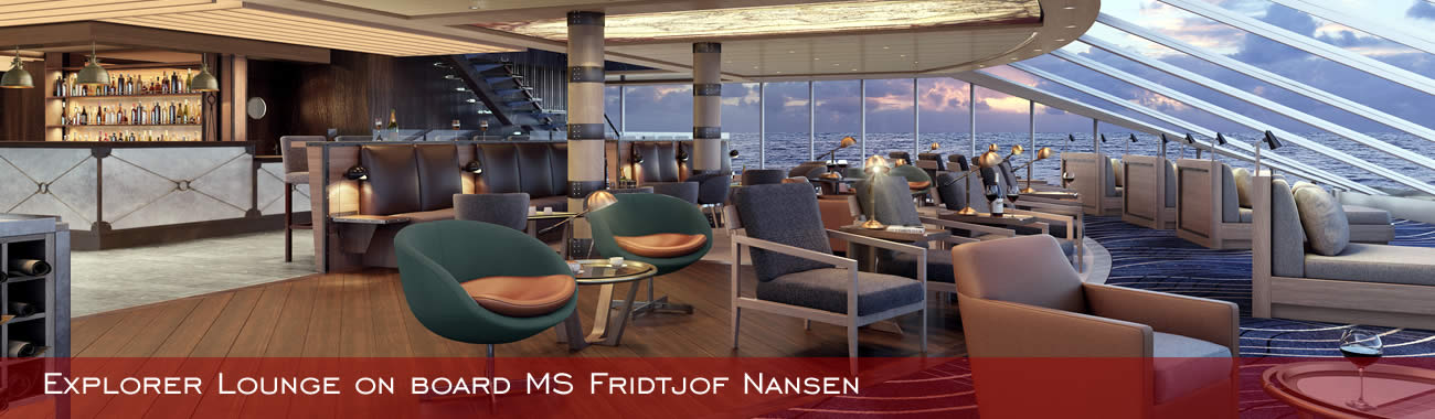 The Explorer Lounge on board MS Fridtjof Nansen