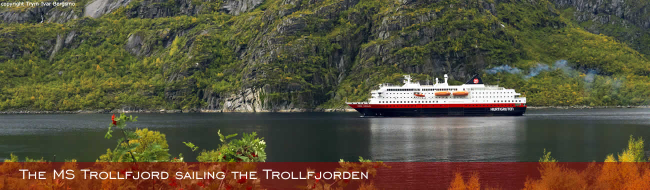 The MS Trollfjord sailing the Trollfjorden