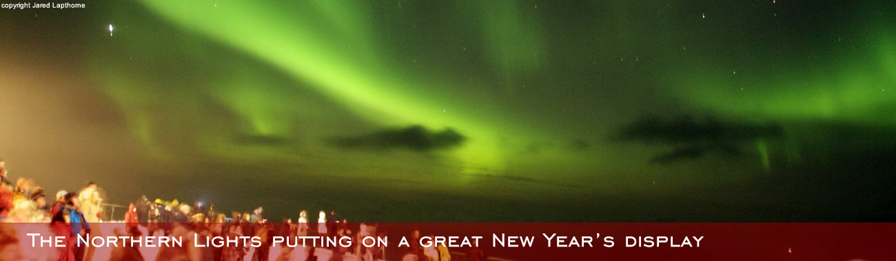 The Northern Lights putting on a great New Year's display for passengers of MS Trollfjord