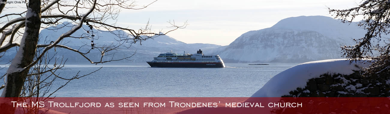The MS Trollfjord as seen from Trondenes' medieval church